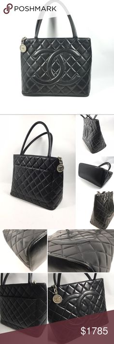 Authentic Black Quilted Chanel Tote Bag No lowballing no trade. Authentic Chanel Medallion Tote Bag  Chanel. Made in France  Date code: 5645250  Gently used condition  Small rub marks, wrinkles and light scratches throughout exterior. Light rubbing on the corners and piping. Light color fading and rubbing on the handles. Otside slip pocket shows wrinkles and rubs throughout.  Interior lining shows small rubs, scratches and color fading on some areas. Overall gently used condition. CHANEL…