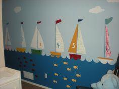 ocean_wall_mural_boats Kids Room Murals, Murals For Kids, Kids Rooms, Nautical Nursery, Nautical Theme, Nazareth House, Chiropractic Office Design, Pirate Bedroom, Sunday School Classroom