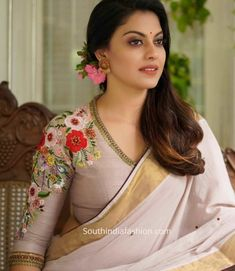 Onam Saree Blouse Collection By Label'M Saree Blouse Neck Designs, Saree Blouse Patterns, Fancy Blouse Designs, Designer Blouse Patterns, Bridal Blouse Designs, Designer Saree Blouses, Latest Blouse Designs, Indian Blouse Designs, Blouse Batik