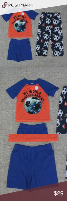 "NEW! THE CHILDRENS PLACE 3-PIECE PAJAMAS! THE CHILDREN'S PLACE PAJAMA SET!  New With Tags!  Size: Boys 3T  Details: -Adorable little boys 3-piece pajama set! -Soft, flame resistant polyester material. -""My World Revolves Around Soccer"" graphic on shirt. -Matching blue shorts. -Soccer ball graphics throughout pants. -Elastic waistbands for a good fit. -Shoulder to hem is 16.5 inches. -Chest is 13 inches across. -Waist on pants is 9.5 inches across. -Inseam on pants is 14.5 inches long…"