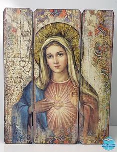 This beautiful glicee print image of the Immaculate Heart of Mary makes a unique inspirational addition to any home! Constructed out of solid medium density fiberboard, the three panels are connect… Catholic Books, Catholic Prayers, Catholic Art, Religious Art, Trinity Catholic, Jesus And Mary Pictures, Mary And Jesus, Mother Mary Images, Blessed Mother Mary