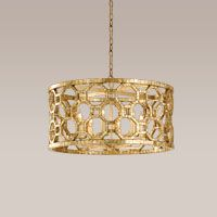 """CORBETT LIGHTING - 104-46  Six Light Chandelier, Stained Sliver Leaf Finish, Genuine Smoked Capiz Shell Mosaic, Hand Crafted Iron  25""""W 14.25""""H"""