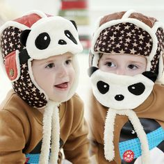 2016 New Lovely Panda Hats Baby Caps Kids Aviator Hat Bomber Winter Cap Children Masks Warm All Children Clothing Accessories