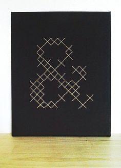 Cross stitched ampersand on canvas   milkandhoneycreative