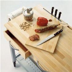 Carrello da Cucina professionale CHEF TELAIO BIANCO con ripiano in legno massello di faggio con tagliere