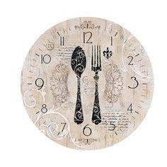 Placa em MDF e Papel Decor Home Relógio Talheres DHPM-047 - Litoarte - PalacioDaArte