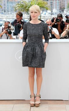 Loved Michelle Williams in this Suno dress last year, my first look at her pixie cut