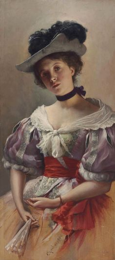 Lady with a Fan by Ladislas Wladislaw von Czachorski Victorian Portraits, Victorian Paintings, Victorian Art, Academic Art, Art Market, Oeuvre D'art, Vintage Images, Female Art, Art Gallery