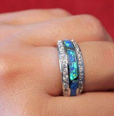 blue fire opal Cz ring gems silver jewelry Sz 7 8 elegant cocktail wedding band