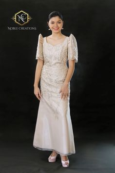 *Please refer to size chart found at end of picture gallery to avoid unnecessary returns leading to Modern Filipiniana Dress, Filipiniana Wedding, Philippines Dress, Grad Dresses, Wedding Dresses, Long Dresses, Barong Tagalog, Maria Clara, Formal Gowns