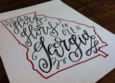 "Instead of Ashes Art Print. ""Glory Glory to ole Georgia"" 8x10. #state #outline #uga #southern"