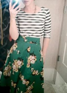 floral skirt & striped shirt