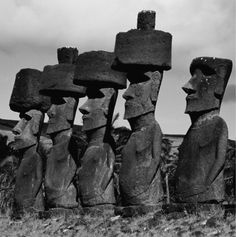 Moai statues with hat (Pukao), Easter Island, Chile.