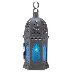 New Ocean Blue Moroccan Candle Lantern Candleholder Patterned Glass Black Iron  #HomeLocomotion