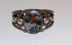 Old Pawn Navajo Sterling Silver Petrified Wood Cuff Bracelet Native American Vintage Cuff Bracelet 45gr