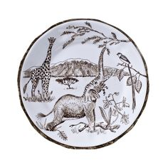 A Serengeti scene adorns this set of salad plates. Crafted of melamine, they're a beautiful and durable way to add pattern to your table. Dining Table Sale, Chandelier For Sale, Mirrors For Sale, Melamine Dinnerware, Mid Century Dining, Pillow Sale, Salad Plates, Vintage China, Textile Prints