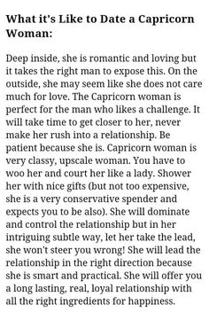 Dating a Capricorn woman: Excellent choice of words to describe us Capricorn woman :)