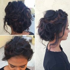 Curly and Messy Updo for Brunettes