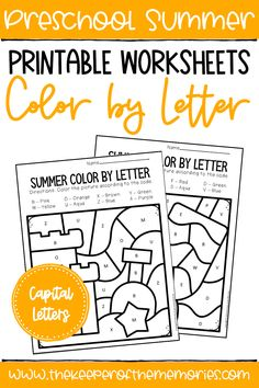 Color by Capital Letter Summer Preschool Worksheets are perfect for practicing letter identification and early reading skills with preschoolers. Get yours today! #preschoolworkheets #colorbyletter #literacy Sensory Activities Toddlers, Preschool Themes, Kids Learning Activities, Learning Letters, Preschool Worksheets, Letter Identification, Early Reading, Building For Kids, Reading Skills