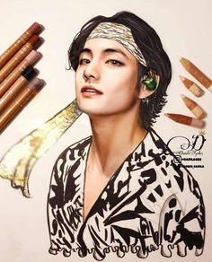How did we survive this style of Tae. Taehyung Fanart, Jimin Fanart, Kpop Fanart, Kpop Drawings, Art Drawings Sketches, Arte Van Gogh, Diy Canvas Art, Bts Chibi, Realistic Drawings