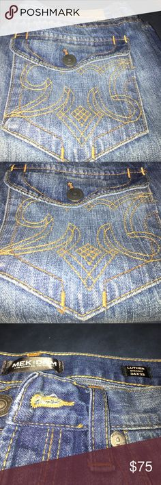 Blue Denim Men's Jeans Medium Blue Men's Denim Jeans. No rips or tears. No buttons missing. 34x34 MEK Jeans Straight