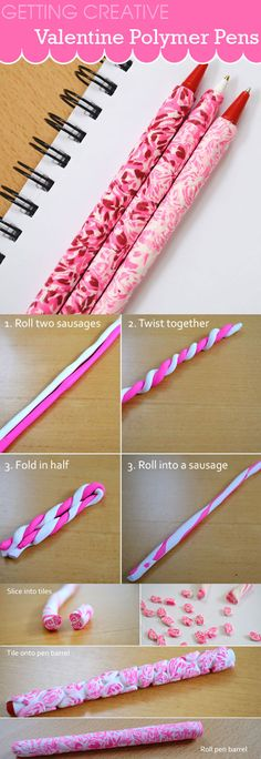 Get creative with polymer clay and make these pretty pens. Great craft idea for a valentine party. Brought to you by Creative in Chicago http://www.creativeinchicago.com/2012/01/polymer-clay-pens-marble-tutorial.html