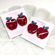 "Resin Earrings | Megsy on Instagram: ""2 pairs of red delicious apples available Thursday night 7pm SA Time 🍎🍎✨ 👩🏼‍🏫 www.megnutowl.com"" Thursday Night, Handcrafted Jewelry, Apples, Resin, Owl, Pairs, Jewellery, Earrings, Instagram"