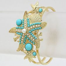 Starfish Bangle Bracelet GOLD TURQUOISE Hinged Coral Seal Life Fashion Jewelry