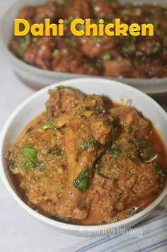 Spicy, tangy and very flavourful dahi chicken which taste great with roti, rice or pulao. Super delicious and lipsmacking curry. Dahi Chicken Recipe, Indian Chicken Recipes, Veg Recipes, Easy Chicken Recipes, Indian Food Recipes, Vegetarian Recipes, Cooking Recipes, Methi Chicken, Chettinad Chicken
