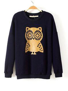 Cotton Print Round Neck Embroidery Straight Sweatshirt : KissChic.com