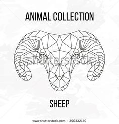 Sheep head geometric lines silhouette isolated on white background vintage vector design element illustration