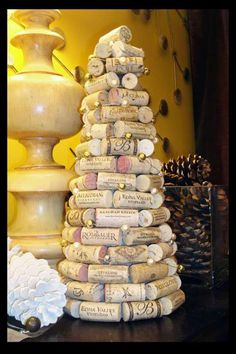 Tutorial -- wine cork Christmas tree dec w/ beaded garland.