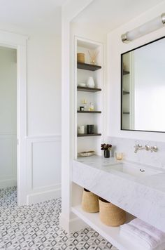 bathroom built in shelves ~ bathroom built in shelves . bathroom built in shelves decor . bathroom built in shelves small spaces . bathroom built in shelves cubbies . bathroom built in shelves wall Bathroom Shelves, Bathroom Storage, Bathroom Interior, Bathroom Organization, Bathroom Mirrors, Bathroom Cabinets, Parisian Bathroom, Bathroom Marble, Bathroom Cleaning
