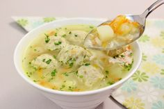 Russian Meatball Soup  made with chicken. Olga's Flavor Factory