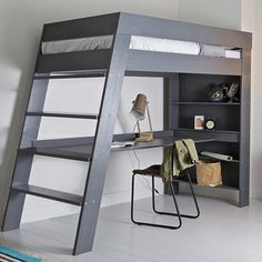 Woood Furniture - Easy to Assemble Luxury Furniture - Ultra stylish and contemporary, the Julien Kids Loft Bed with Desk in Grey is a great piece of furn - Loft Bed Desk, Bunk Bed With Desk, Bunk Beds With Stairs, Bedroom Loft, Diy Bedroom, Bedroom Apartment, Trendy Bedroom, Modern Bedroom, Bedroom Kids