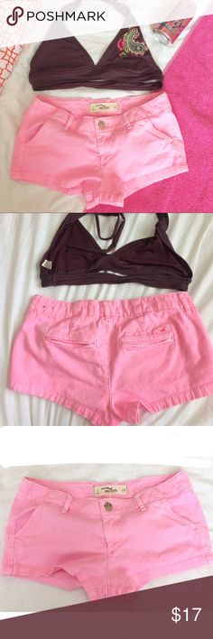 Hollister pink shorts w free bikini top Hollister hot pink shorts in great condition! Free size small old navy embroidered bikini top included! Size 1 Hollister Shorts