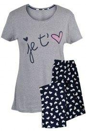 MUZZY nightwear, Piżama bawełniana w szarym kolorze z napisem je t'<3. Bluzka z krótkim rękawem, spodnie długie na tle grafitowym jasne serduszka. więcej na www.muzzy.pl/sklep