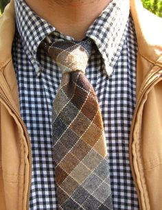 Black & white gingham flannel button-down; vintage plaid wool tie by Wembley; tan canvas jacket.