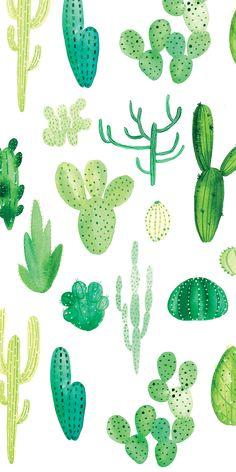 21 Ideas For Succulent Art Wallpaper Cactus Drawing, Cactus Painting, Watercolor Cactus, Watercolor Print, Cactus Decor, Cactus Art, Cactus Flower, Green Wallpaper, Iphone Background Wallpaper