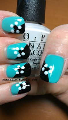 Jax Nails - turquoise and black