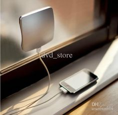 Window can be used to charge your mobile phone or MP3 player in the car, office or at home with the integrated 1400mAh rechargeable lithium battery. Because the charger can stick to a window it always faces the sun. This makes the solar charging process even more efficient.