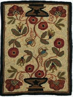 Floral with great background wool