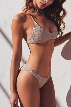 Floralkini Grey Solid Color Low Waist Bikini Set