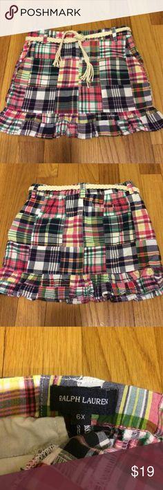 Girls' Ralph Lauren Madras Skirt Cute Girls' Cotton Madras Skirt- Ralph Lauren.  Rarely worn.  Braided cotton belt. Ralph Lauren Bottoms Skirts