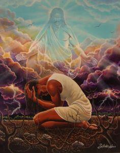 Art by Lester Kern God and Jesus Christ Black Love Art, Black Girl Art, African American Art, African Art, Black Art Pictures, Jesus Art, Prophetic Art, Biblical Art, Black Artwork