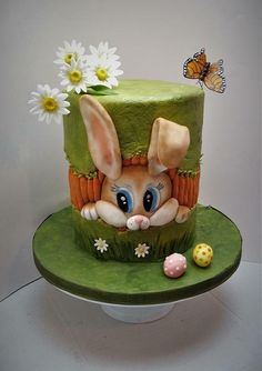 Easter bunny cake with gumpaste daisies and butterfly. Easter Bunny Cake, Easter Cookies, Easter Cupcakes, Cake Decorating Techniques, Cake Decorating Tips, Fancy Cakes, Cute Cakes, Rabbit Cake, Sweet 16 Cakes