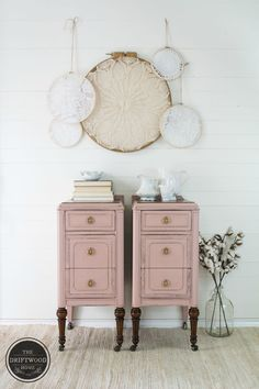 Pink Painted Nightstands Country Chic Painted Nightstands Painted Furniture Makeover The Driftwood Home - Plus Size Pink Furniture, Shabby Chic Furniture, Rustic Furniture, Cool Furniture, Painted Furniture, Furniture Stores, Bedroom Furniture, Furniture Ideas, Kitchen Furniture