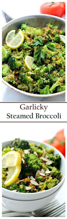 Garlicky Steamed Broccoli |  Make this delicious and healthy side dish of steamed broccoli without a steamer! Rolled in buttery panko crumbs, garlic and lemon