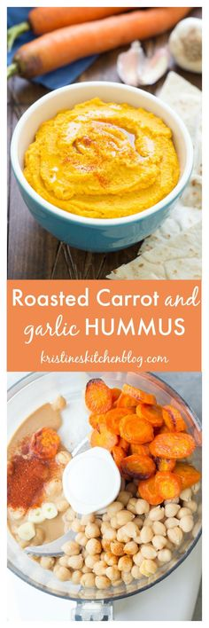 Roasted Carrot and Garlic Hummus recipe, so yummy and healthy for lunch or snack! Carrot Recipes, Veggie Recipes, Roast Recipes, Qinuoa Recipes, Rutabaga Recipes, Appetizer Recipes, Watercress Recipes, Whole Food Recipes, Appetizers