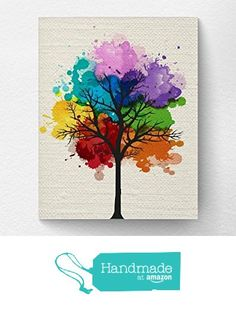Chakra Rainbow Tree Wall Art Print, Tree Nature Home Decor, Splatter Tree Art from Lotus Leaf Creations